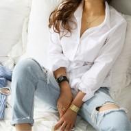Camisa blanca femenina Tops...